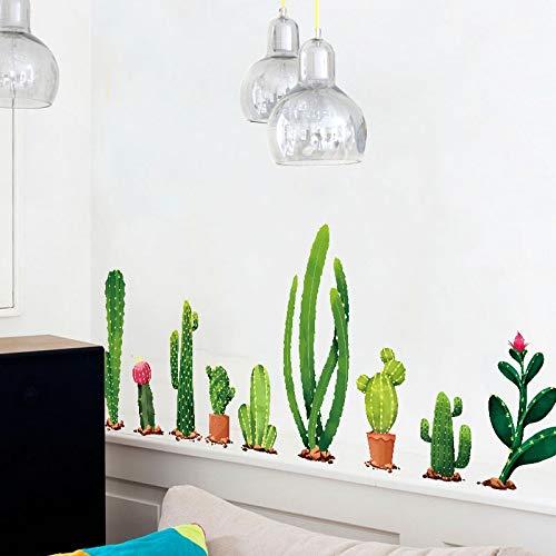 Wall Sticker ZOZOSO Kaktus Planta Flores Fernseher Sofá Fondo Gartenhaus mit Dekor Casa Decoración Salon Decoración Dormitorio 3D Pared Calcomanía Fototapete Arte Cartel Zócalo Arte-dekor