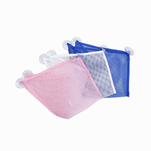 Swallowuk Baby Spielzeug Lagerung Saugnapf Tasche Netz Badezimmer Veranstalter Spielzeugtasche,3 Stück (Weiß+Blau+Rosa)