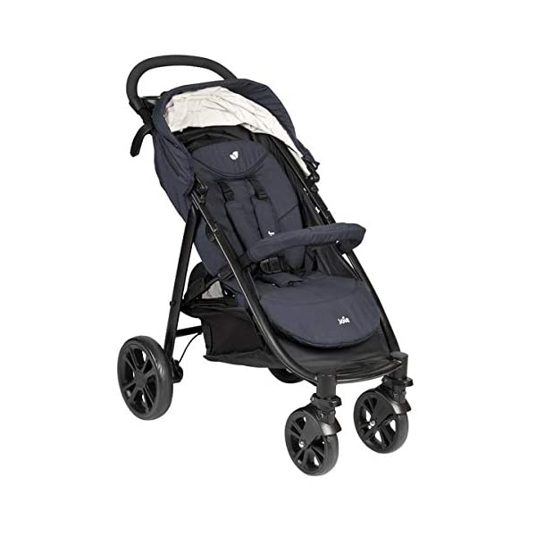 Joie Litetrax 4 Pushchair Navy Blazer  Bumper bar, raincover, shopping basket and parent tray with cupholders UPF 50+ sun canopy and oversized expandable hood SoftTouch 5-point safety harness adjusts to 3 heights 4-position recline and 2-position leg rest One-hand instant fold with automatic lock 4