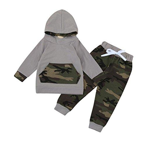 Covermason Kinder Baby Jungen Mädchen Kapuzenpullover mit Kapuze Tops Jacke + Hosen Bekleidungssets (60 (3 Monate), Camouflage B) (Baby-jungen-kapuzen-jacke)