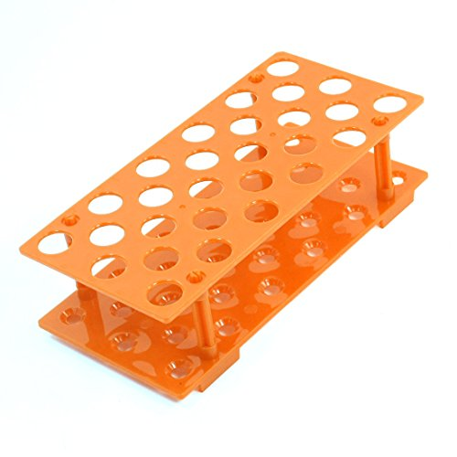 Sourcingmap orange 28 Positionen 17 mm Loch Dia Test Tubes Halter Ständer Rack