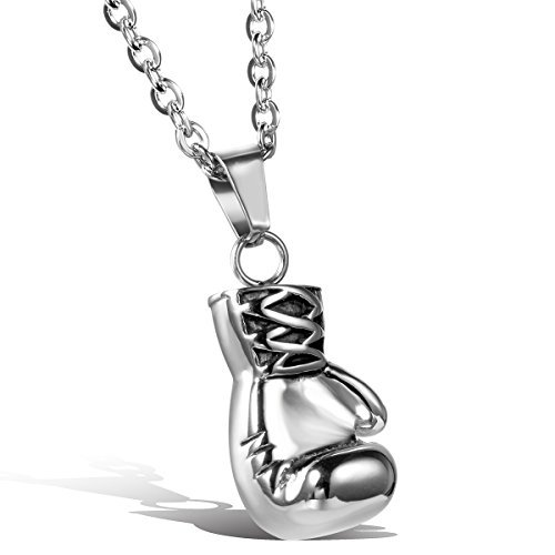 Oidea Men's Necklace Stainless Steel Pendant Boxing Gloves Silver