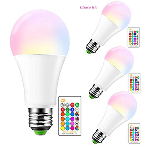 Farbe wechselnde LED-Leuchtmittel E27 dimmbar, 15W RGBW LED-Leuchtmittel mit IR-Fernbedienung Controller, 5700K Cool weiß und 16 Farben Choices Home Party Bar Deko Ambiente Beleuchtung, 4 Pcs
