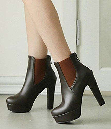 Aisun Femme Spécial Talon Haut Bloc Plateforme Boots Chelsea Brun