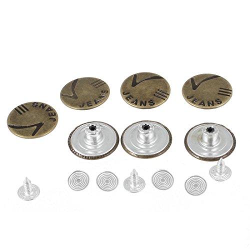 Bronzeton Geschnitzte High Heel-Schuhe Accent Jeans Buttons 7 Stück