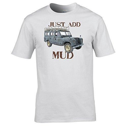 Naughtees bekleidung - Just add schlamm Land rover offroad T-shirt Weiß