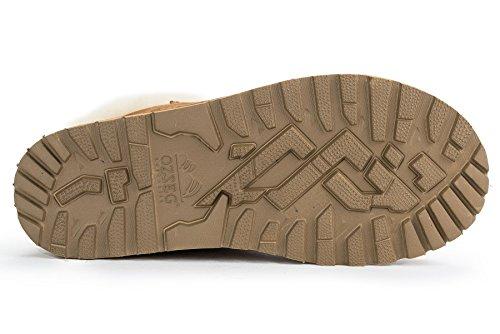 OZZEG Neige Shearling bottes lacets féminine plus récent conçu chaude doublure bottes en peau de mouton Brun