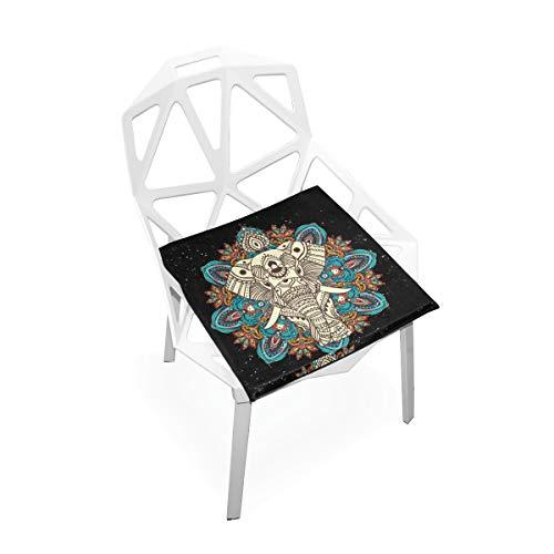 Enhusk Mandala Geometric Style Elefant Weiche Rutschfeste quadratische Memory Foam Chair Pads Kissen Sitz für Home Kitchen Esszimmer Büro Rollstuhl Schreibtisch Holzmöbel Indoor 16 X 16 Zoll -
