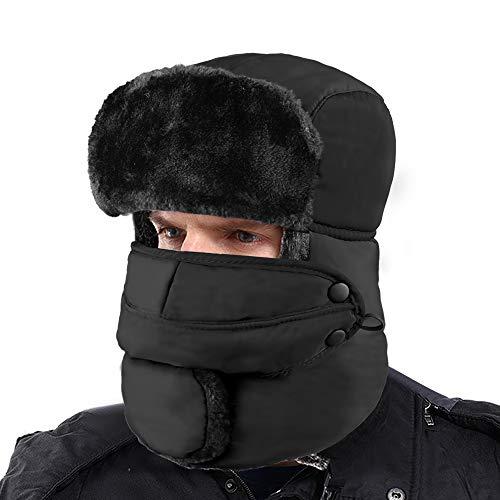 XIAOYAO Fliegermütze Wasserdicht mit Ohrenklappen,Warm Wintermütze Pilotenmütze Fellmütze für Herren und Damen (Schwarz)