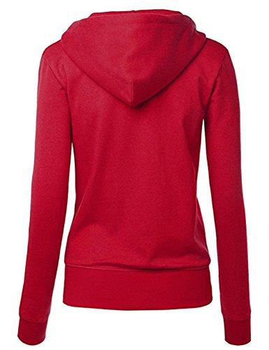 Freestyle Giacca da Donna Sweatshirt Zip Cardigan Hoody da Ragazza in Tinta Felpa con Cappuccio e Manica Lunga Rosso