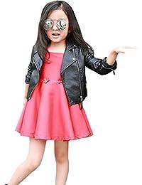 LSERVER Kinder Mädchen Kunst Lederjacke Frühling Herbst Winter Punk Jacke  Mantel Outwear 3c163785bd