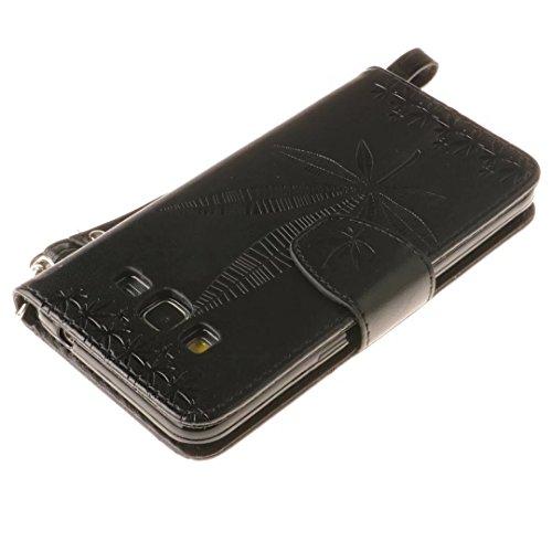 Vandot Coque Samsung Galaxy Grand Prime G530 Etui Samsung Galaxy Grand Prime G530 Case Samsung Galaxy Grand Prime G530 Housse iPhone SE PU Cuir Coque Samsung Galaxy Grand Prime G530 Flip Etui Motif Pa Maple Leaf-Noir