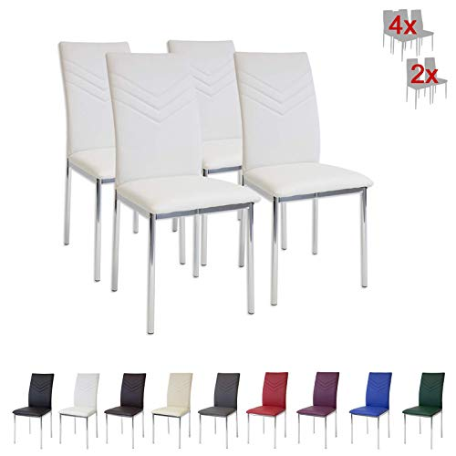 Albatros 2935 Verona Set de 4 sillas de Comedor, Blanco
