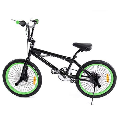 Ridgeyard BMX Fahrrad 20 Zoll Freestyle 360° Rotor-System,Freestyle 4 Pegs BMX Bike (Schwarz + Grün) - Bike Zoll 20 Bmx