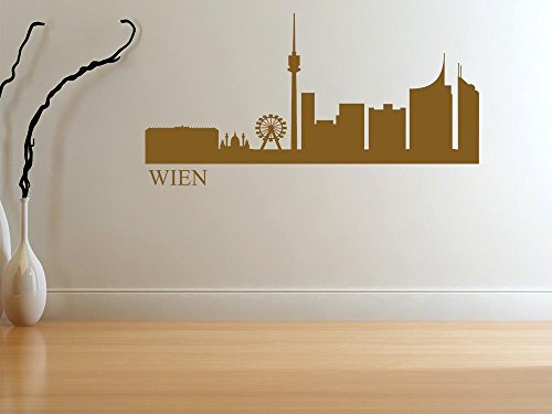 Wandtattoo Wandaufkleber Aufkleber für Wohnzimmer Skyline Wien Stadt Prater (174x90cm // 031 rot)