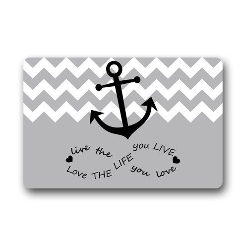 Icndpshorts Infinity Live The Life You Love, Love The Life You Live. Gray and White Chevron with Anchor Doormat,Indoor/Outdoor Floor Mat