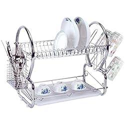 Ustensile en verre à deux niveaux pour égouttoir à vaisselle en acier inoxydable, chrome - Silber