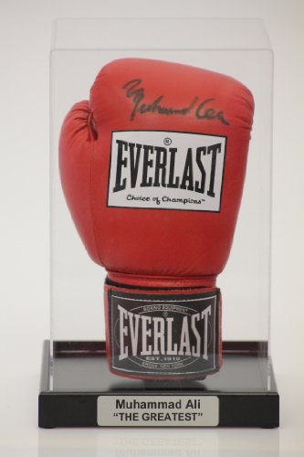 Acrylic Boxing Glove Display Case with Classic Black Base and FREE Personalised Plaque - Black Plaque