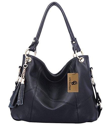 Ichic Boutique(TM)Damen Handtaschen Hobo-Bags Schultertaschen Beutel Beuteltaschen Leder Tasche,Schwarz (Bag Hobo Klassische)