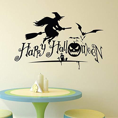 Vinyl Wandtattoos Halloween Zauberin Wandtattoos Abnehmbare Urlaub Wandkunst Poster Vinyl Halloween Wallpaper Decor 57 * 39 cm