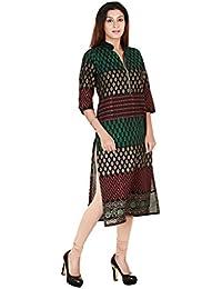 Zoeyams Women's Multicolor Cotton Block Prints Long Straight Kurti
