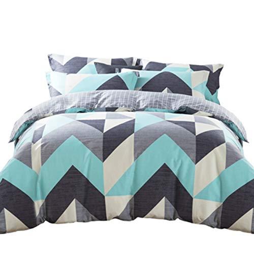 YJJSL Cotton-Bettwäsche-Set, Student Schlafzimmer Stilvolle Einfachheit Duvet Suit, geometrische gestreiften Gitter Naked Solid Color Quilt Anzug Set - abnehmbare 3Pices -