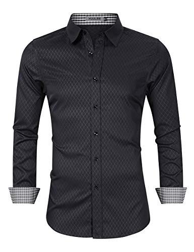 KUULEE Herren Jeanshemd Slim Fit Langarmhemd - Baumwolle/Denim - für Anzug, Business, Freizeit (M / DE 36, Schwarz(diamant-gitter))