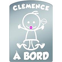 """Plaque voiture BEBE à BORD (prénom fille) """"CLEMENCE"""""""