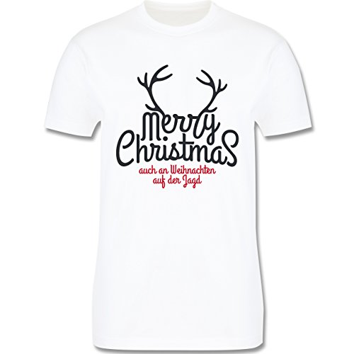 Weihnachten & Silvester - Merry Christmas Hirsch Jagd Weihnachten - Herren Premium T-Shirt Weiß