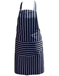 Chef Tablier Qualité Professionnelle De boucher Cuisine Cuisiniers Restaurant Bistro BBQ École Collège Double POCHES 100% Coton - Bleu