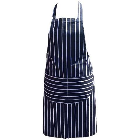 Chefs Delantal Calidad Profesional Carnicería Cocina Cooks Restaurante Bistro BBQ Colegio Instituto Doble BOLSILLOS 100% Algodón - Azul