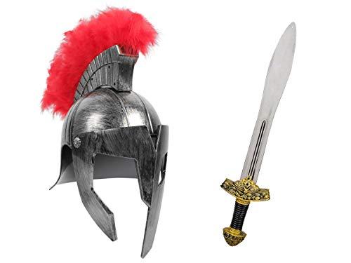 Alsino Römer Krieger Kostüm Accessoires (Kv-156) - mit Gladiatoren Helm, Silber und Ritterschwert, 56 cm lang