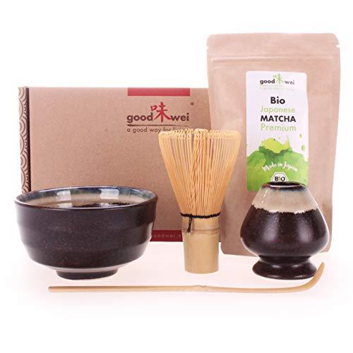 Goodwei Set di Matcha Completo con Matcha Tè Verde Giapponese di qualità premium organico. (Kumo)