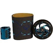 AO Scooter Delta Linear Juego de patinete de ruedas de Compartir 110mm Grip Tape barclamp + Fan tic26Pegatinas, azul