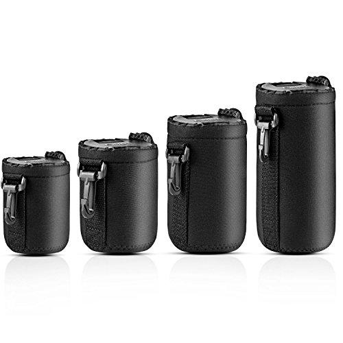 AMERTEER 4 x schwarz Neopren Wasserdicht Dick Weich Schutz Tasche für Canon Nikon Sony Kamera Objektive