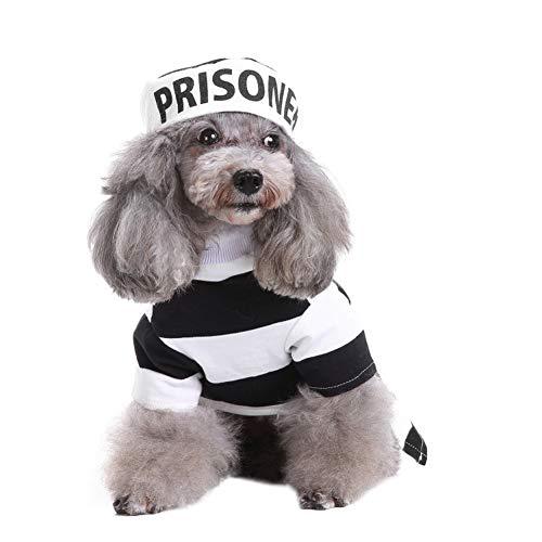 Kostüm Hunde Gefangener - MONIY Gefangene Haustier Kostüme, Hund Halloween Cosplay Kostüm, Holy Hound Kleidung mit passendem Hut, Herbst Winter warme Overall Outfit