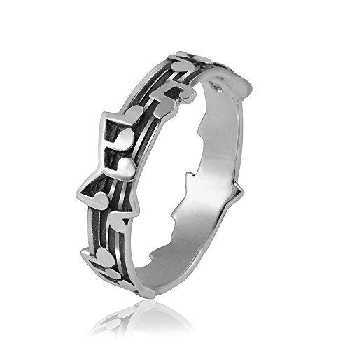 MATERIA 925 Silber Ring Noten Musik #SR-62, Ringgrößen:57 (18.1 mm Ø)