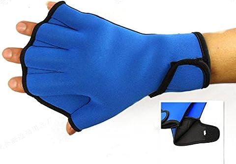 Dooki, Résistant à l'eau Gants Néoprène Palmés Gants de Natation Aqua Fit Training Exercice Flippers Paddle de Natation, Bleu (Petit)