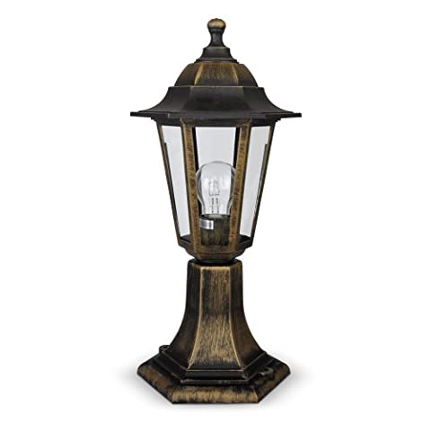 Vintage Style Brushed Bronze Black Outdoor Garden Lantern Style Light Post Lamp - IP44 Rated