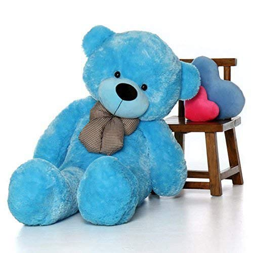 BTC Soft Teddy Bear Birthday Gift for Girlfriend/Wife Happy Birthday Teddy with Heart Soft Toy 3 Feet Long Blue(92cm)