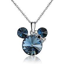 Swarovski Elements - Placcato platino - Collane con pendente a forma di topo(blu)