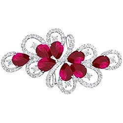 QUKE Modeschmuck Damen Rot Rubin-Farbe Zirkonia Strass Kristall Braut Hochzeit Brosche Anstecknadel broschen