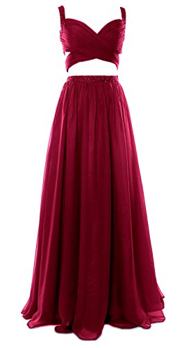 MACloth Women 2 Piece Long Prom Dress Chiffon Sexy Homecoming Party Formal Gown Wine Red