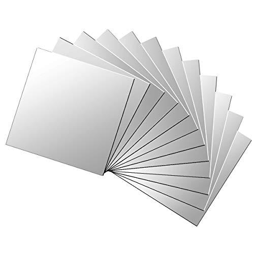 X-Mile 12 Stück Spiegelfliesen Wandaufkleber Spiegelkachel DIY Abziehbild Spiegel Für Oberflächen Dekoration Hauptbüro 15x15cm