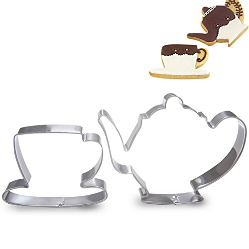 zhouba 2Teekanne Tea Cup Set Cookie Cutter Edelstahl Fondant Kuchen Form Werkzeug Einheitsgröße silber -