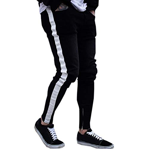 Pantaloni sportivi uomo cotone slim fit pantaloni allenamento,yanhoo uomo casual pantaloni biker strappato jeans aderenti pantaloni slim fit sfrangiati di jeans