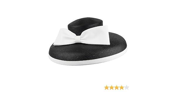 810ac95a Whiteley Hats Anastasia Straw Wedding Hat - Black-White 1-Size:  Amazon.co.uk: Clothing