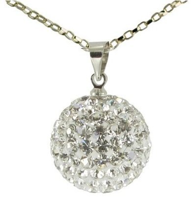 Shamballa Style Swarovski Crystal Disco Ball Frindship Bead Sterling Silver 10MM Pendant [White] with Sterling Silver Diamond Cut Oval Link Chain 46cm/