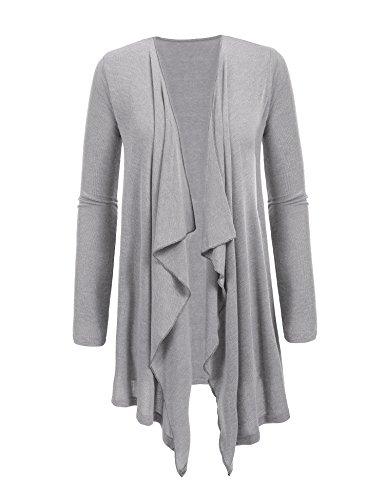 ADOME Strickjacke Langarm Böhmisch Pullover Lang loose Cardigan Bluse Outwear Oberteil- Gr. 40 (L), Grau