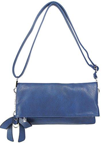 CASAdiNOVA Tasche Abendtasche Blau Leder Vegan Clutch Klein Umhängetasche Set Handtasche (29/16/3cm) 2in1 - Vegan Leder Clutch